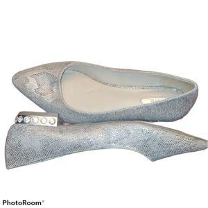 mark. Jewel Heel Faux Snake Skin Flats